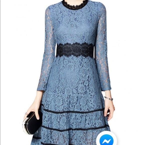 83065d2e61 Blue Hollow Out Lace Swing Midi Dress